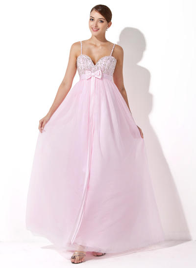 Empire Sweetheart Tulle Sleeveless Floor-Length Beading Sequins Bow(s) Evening Dresses (017004348)