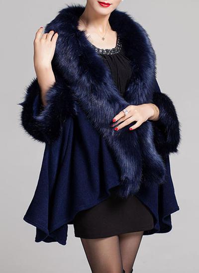 Wrap Fashion Faux Fur Black Burgundy Dark Navy Wraps (013150441)