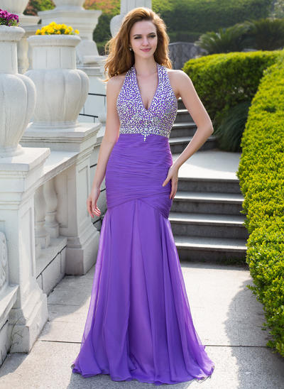 Chiffon Sleeveless Trumpet/Mermaid Prom Dresses Halter Ruffle Beading Floor-Length (018210466)
