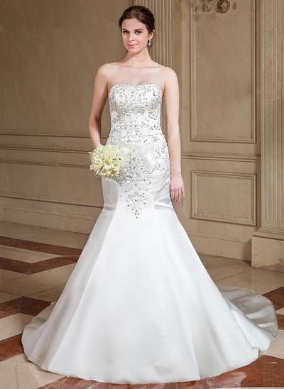 Sexy Cathedral Train Trumpet/Mermaid Wedding Dresses Sweetheart Satin Sleeveless (002000463)
