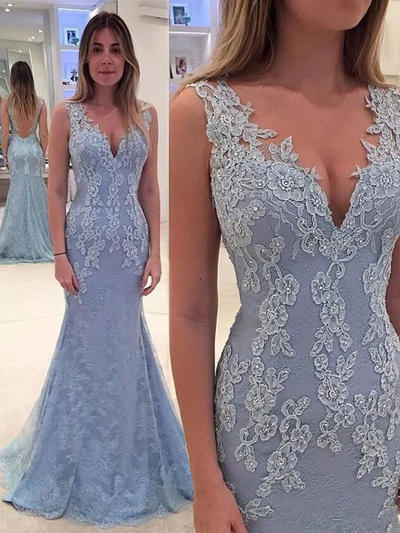 Lace Sleeveless Trumpet/Mermaid Prom Dresses V-neck Appliques Lace Sweep Train (018145978)