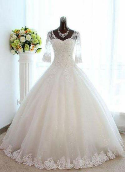 2019 New Floor-Length Ball-Gown Wedding Dresses V-neck Tulle Lace 3/4 Length Sleeves (002147964)