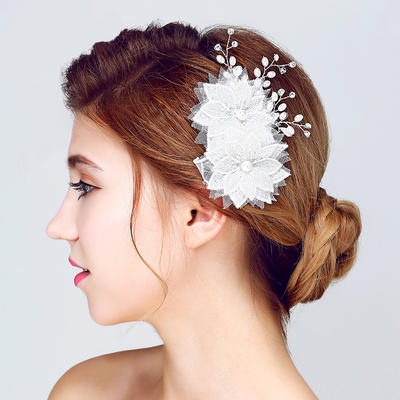 """Flowers & Feathers Wedding/Special Occasion/Outdoor/Party Alloy/Imitation Pearls/Lace 5.12""""(Approx.13cm) 3.35""""(Approx.8.5cm) Headpieces (042156223)"""