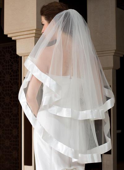 Waltz Bridal Veils Tulle One-tier Angel cut/Waterfall/Cascade With Ribbon Edge Wedding Veils (006151490)