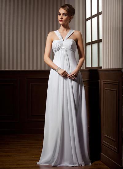 Newest Sweep Train Empire Wedding Dresses Sweetheart Chiffon Sleeveless (002211257)