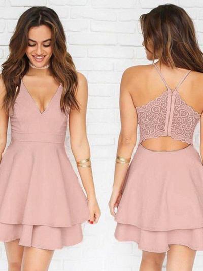 A-Line/Princess V-neck Stretch Crepe Sleeveless Short/Mini Lace Homecoming Dresses (022212467)