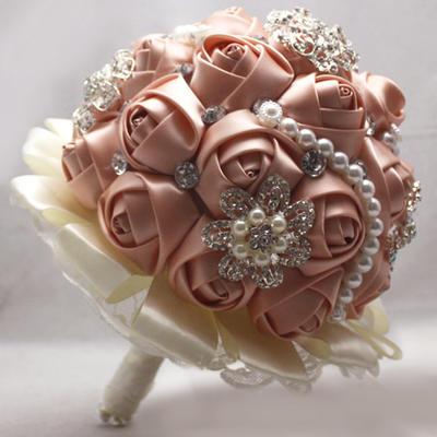 "Bridal Bouquets Round Wedding Satin 10.24""(Approx.26cm) Wedding Flowers (123188900)"