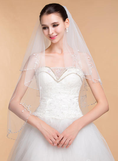 Elbow Bridal Veils Tulle Two-tier Classic With Beaded Edge Wedding Veils (006152003)