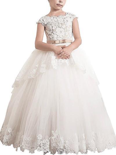 2019 New Floor-length Ball Gown Flower Girl Dresses Scoop Neck Tulle Sleeveless (010211755)