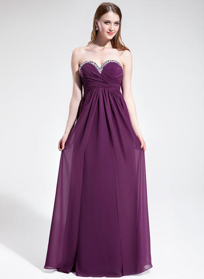 Chiffon Sleeveless Empire Prom Dresses Sweetheart Ruffle Beading Floor-Length (018025602)