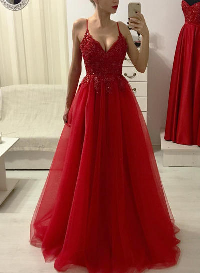 Tulle Sleeveless A-Line/Princess Prom Dresses V-neck Beading Appliques Lace Floor-Length (018218614)