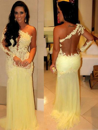 Chiffon Long Sleeves Sheath/Column Prom Dresses One-Shoulder Appliques Lace Sweep Train (018210284)