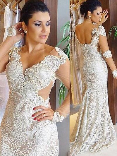 Glamorous Sweep Train Sheath/Column Wedding Dresses V-neck Lace Long Sleeves (002147987)