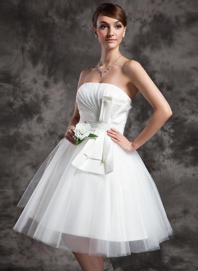 Newest Knee-Length A-Line/Princess Wedding Dresses Strapless Tulle Sleeveless (002210459)