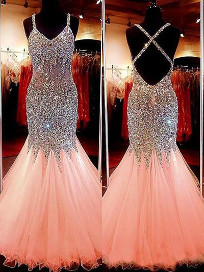 Trumpet/Mermaid V-neck Tulle Sleeveless Floor-Length Beading Sequins Evening Dresses (017196693)