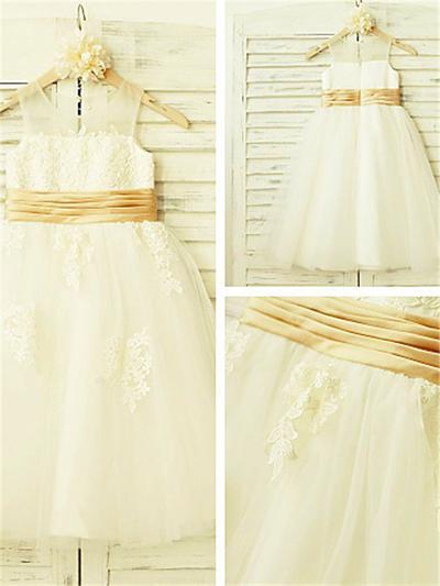 Sweetheart Tea-length A-Line/Princess Flower Girl Dresses Scoop Neck Tulle Sleeveless (010211920)