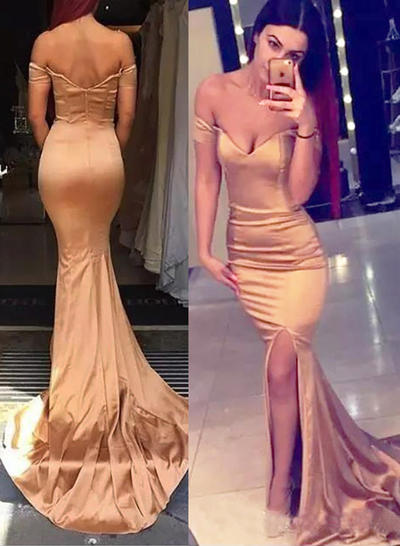 Trumpet/Mermaid Off-the-Shoulder Silk Like Satin Sleeveless Sweep Train Split Front Evening Dresses (017210057)