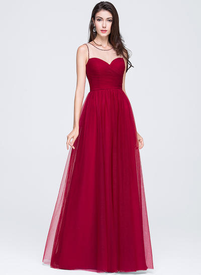 Tulle Sleeveless A-Line/Princess Prom Dresses Scoop Neck Ruffle Beading Flower(s) Sequins Floor-Length (018070359)