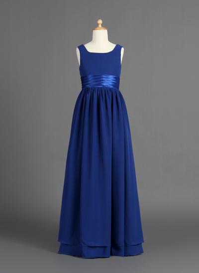 Elegant Floor-length A-Line/Princess Flower Girl Dresses Scoop Neck Chiffon/Charmeuse Sleeveless (010007386)