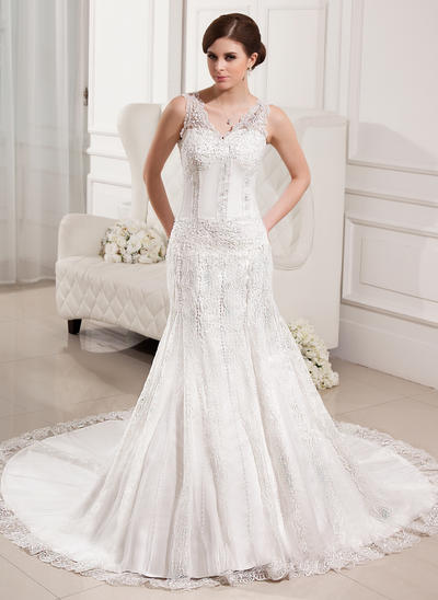Magnificent Chapel Train Trumpet/Mermaid Wedding Dresses Sweetheart Tulle Lace Sleeveless (002000330)