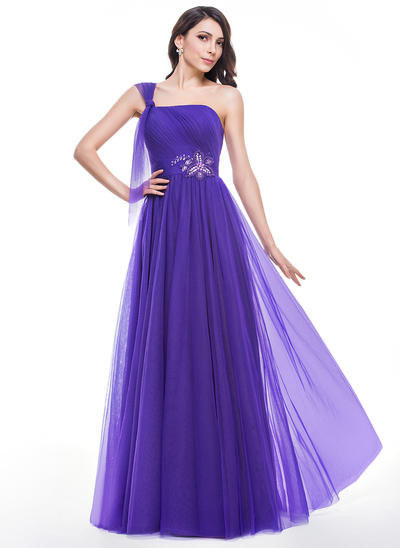 Tulle Sleeveless A-Line/Princess Prom Dresses One-Shoulder Ruffle Beading Floor-Length (018059420)