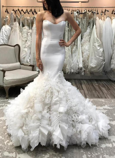 Magnificent Court Train Trumpet/Mermaid Wedding Dresses Sweetheart Organza Sleeveless (002146945)