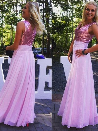 Chiffon Sequined Sleeveless A-Line/Princess Bridesmaid Dresses V-neck Ruffle Floor-Length (007144979)