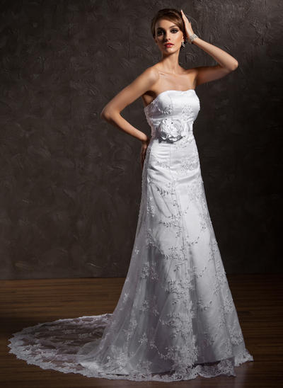 Sexy Court Train A-Line/Princess Wedding Dresses Sweetheart Lace Sleeveless (002196858)