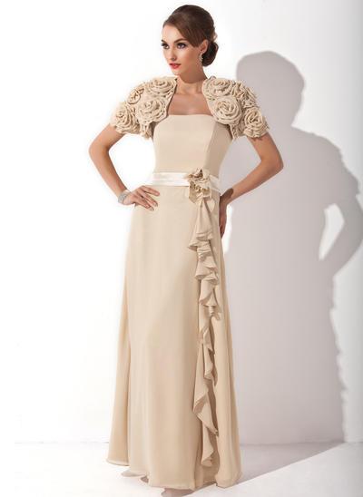 A-Line/Princess Strapless Chiffon Sleeveless Floor-Length Flower(s) Cascading Ruffles Mother of the Bride Dresses (008006173)