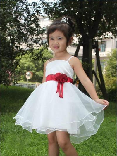 Magnificent Short/Mini A-Line/Princess Flower Girl Dresses Square Neckline Satin/Tulle Sleeveless (010211909)