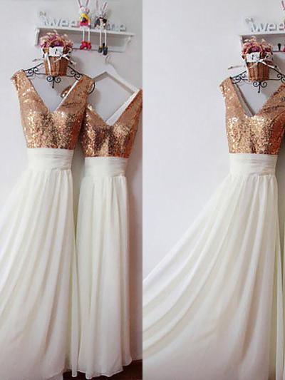 Chiffon Sleeveless A-Line/Princess Bridesmaid Dresses V-neck Ruffle Floor-Length (007211675)