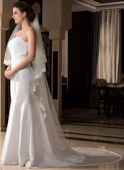 Cathedral Bridal Veils Tulle One-tier Drop Veil With Lace Applique Edge Wedding Veils (006151528)