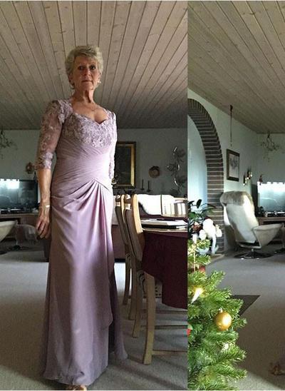 A-Linie/Princess-Linie Schatz Chiffon 1/2 Ärmel Bodenlang Applikationen Spitze Kleider für die Brautmutter (008212760)