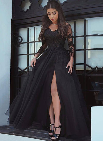 Tulle Long Sleeves A-Line/Princess Prom Dresses V-neck Split Front Court Train (018217300)