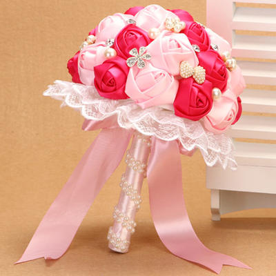 """Bridal Bouquets Wedding Satin 10.24""""(Approx.26cm) Color & Style representation may vary by monitor/Due to it is handmade/ slight difference is unavoidable. Wedding Flowers (123188891)"""