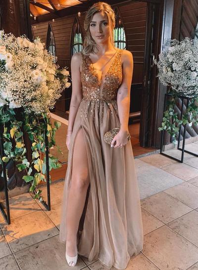 Tulle Sleeveless A-Line/Princess Prom Dresses V-neck Beading Split Front Floor-Length (018218588)