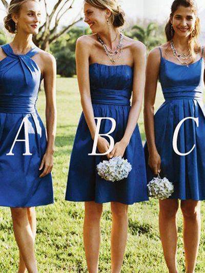 Satin Sleeveless A-Line/Princess Bridesmaid Dresses Strapless Ruffle Short/Mini (007211707)