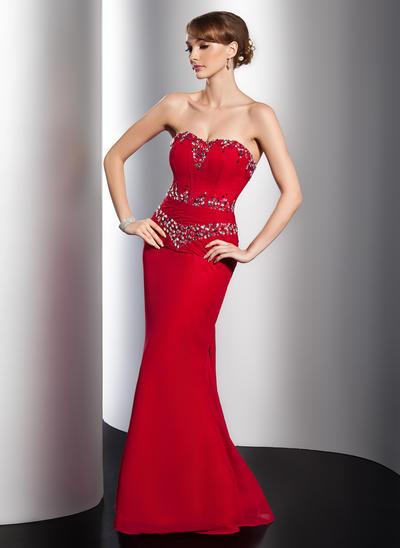 Trumpet/Mermaid Sweetheart Chiffon Sleeveless Watteau Train Ruffle Beading Evening Dresses (017014779)