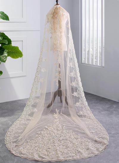 Kapelle Braut Schleier Tüll Einschichtig mit Spitze Saum mit Lace Brautschleier (006152503)