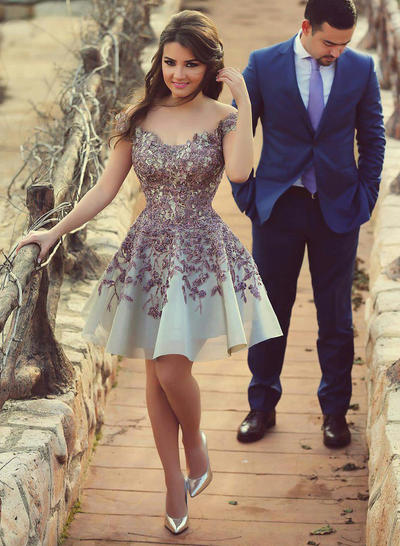 Satin Sleeveless A-Line/Princess Prom Dresses Off-the-Shoulder Knee-Length (018146624)
