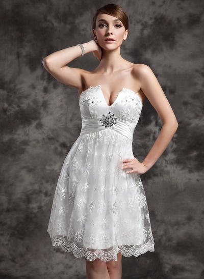 Flattering Knee-Length Empire Wedding Dresses Sweetheart Charmeuse Lace Sleeveless (002210460)