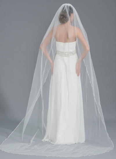 Chapel Bridal Veils Tulle One-tier Oval With Beading Wedding Veils (006152204)