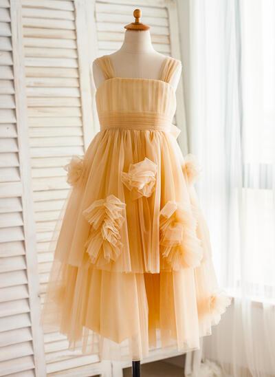 Simple Knee-length A-Line/Princess Flower Girl Dresses Straps Tulle Sleeveless (010212161)