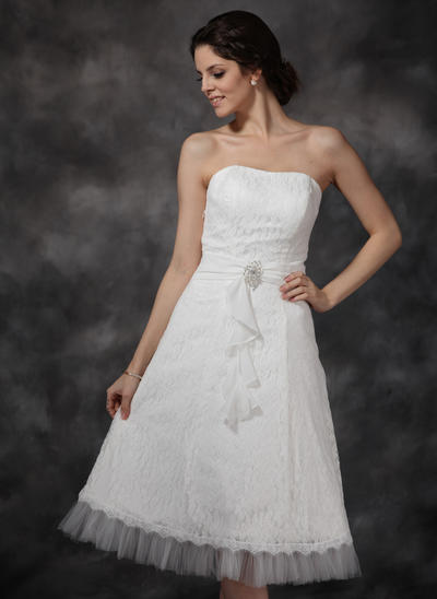 Flattering Knee-Length A-Line/Princess Wedding Dresses Sweetheart Chiffon Tulle Lace Sleeveless (002210456)