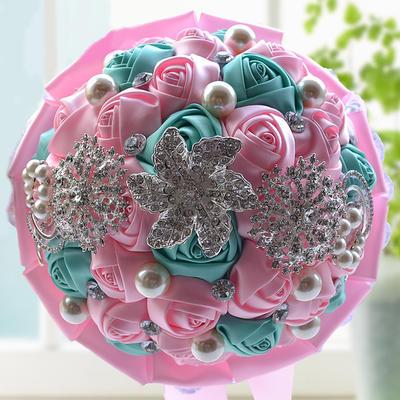 "Bridal Bouquets/Bridesmaid Bouquets Round Wedding Satin/Rhinestone 9.84""(Approx.25cm) Wedding Flowers (123189032)"