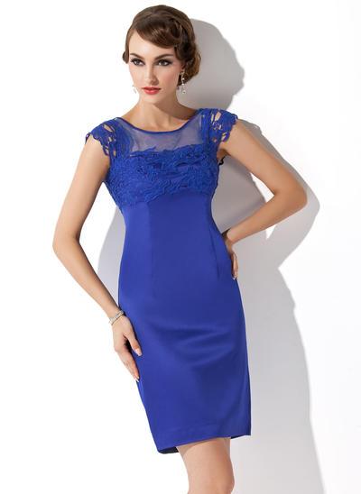 Sheath/Column Scoop Neck Satin Sleeveless Short/Mini Lace Mother of the Bride Dresses (008211338)