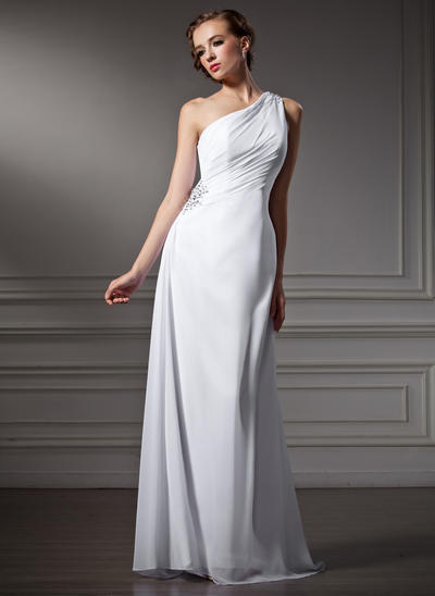 Princess Sweep Train Sheath/Column Wedding Dresses One Shoulder Chiffon Sleeveless (002196861)