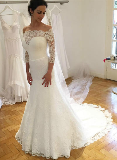 Delicate Sweep Train A-Line/Princess Wedding Dresses Off-The-Shoulder Lace 3/4 Length Sleeves (002217845)