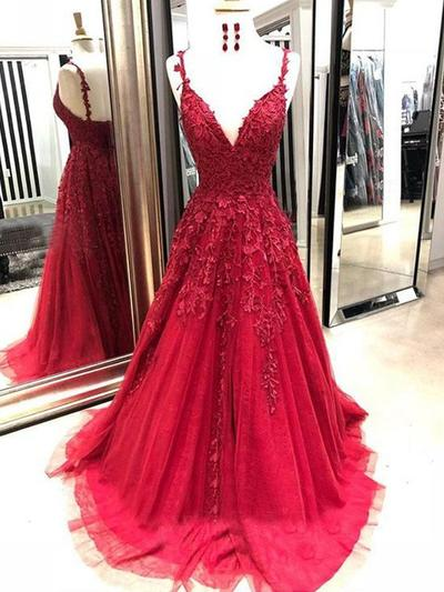 Tulle Sleeveless A-Line/Princess Prom Dresses V-neck Appliques Lace Sweep Train (018218658)