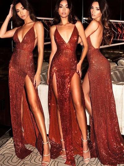 Sequined Sleeveless Sheath/Column Prom Dresses V-neck Split Front Sweep Train (018218101)